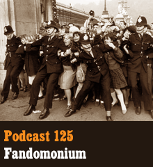 Wherein our gang kicks off a three-parter on the phenomenon of fandom. Corey delves into the history of fandom, going all the way back to Sir Arthur Conan Doyle and early science fiction. Allison talks about raising a fan and experiencing cosplay at a recent con. And Chris pegs President Franklin D. Roosevelt for his greatest transgression against humanity. Theme music by Latché Swing. Podcast: Play in new window | Download